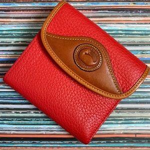 Dooney & Bourke Pebbled Red Tan Wallet Billfold
